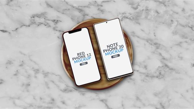 Inny System Operacyjny Smartphone Na Makiecie Drewnianej Tablicy Na Białym Tle Premium Psd