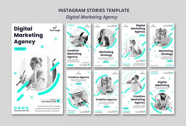 Instagramowe Historie Agencji Marketingu Cyfrowego Premium Psd