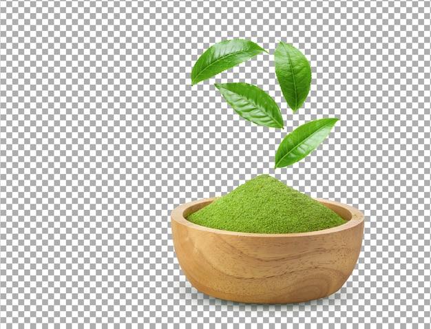 Instant Matcha Zielona Herbata W Proszku W Drewnianej Misce Z Liśćmi Na Białym Tle Premium Psd