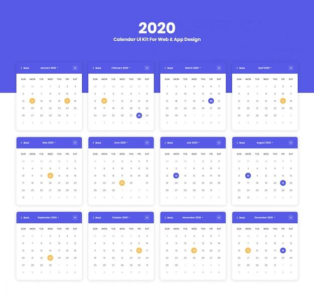 Interfejs Użytkownika Kalendarza 2020 Do Projektu Aplikacji Internetowych I Mobilnych Premium Psd