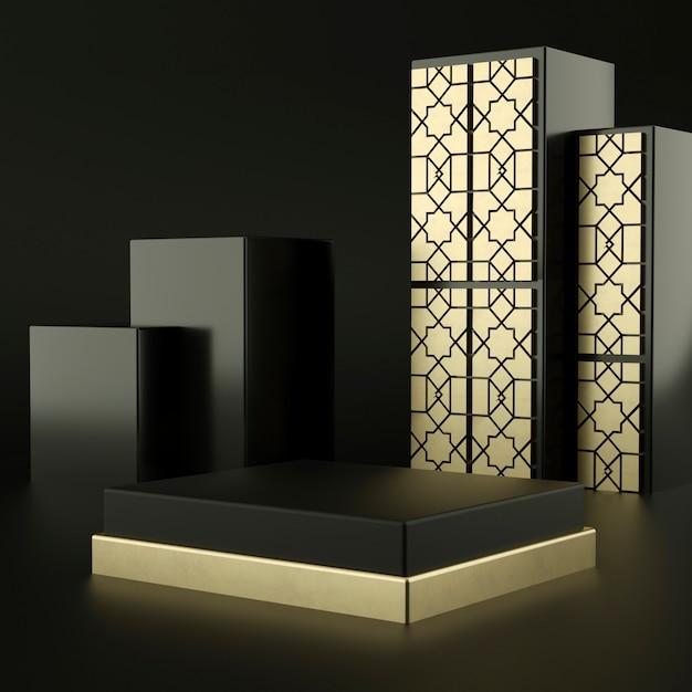 Islamski Abstrakcyjny Czarny Kolor Geometryczny Kształt, Nowoczesny Minimalistyczny Wyświetlacz Lub Prezentacja Na Podium, Renderowania 3d Premium Psd