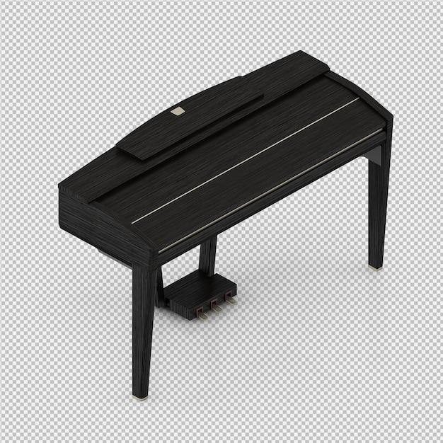 Izometryczne Fortepian Renderowania 3d Premium Psd