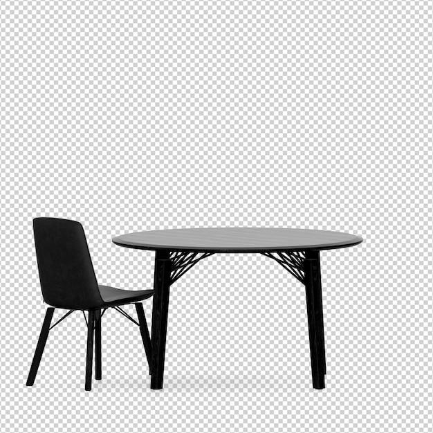 Izometryczne Krzesło I Stół Renderowania 3d Na Białym Tle Premium Psd