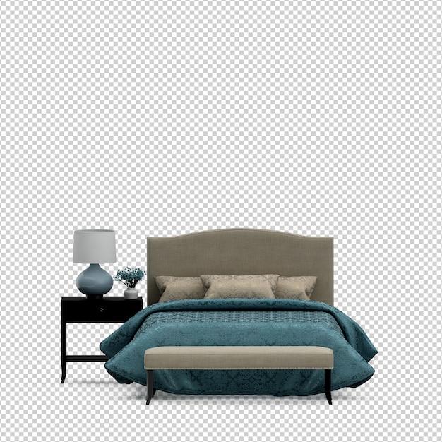 Izometryczne łóżko Renderowania 3d Na Białym Tle Premium Psd