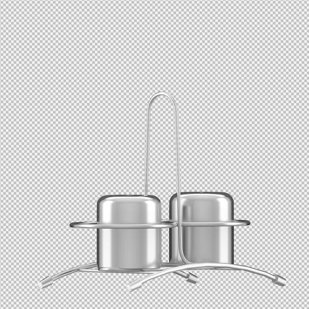 Izometryczne naczynia kuchenne renderowania 3d Premium Psd