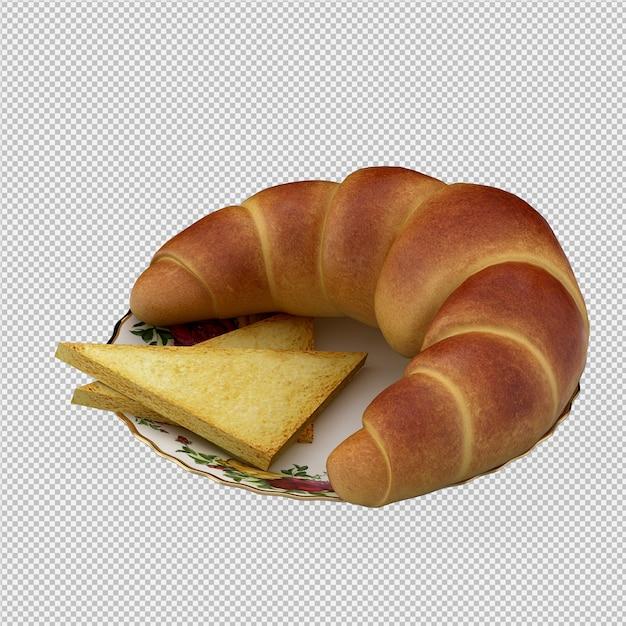 Izometryczne śniadanie 3d Izolowane Premium Psd