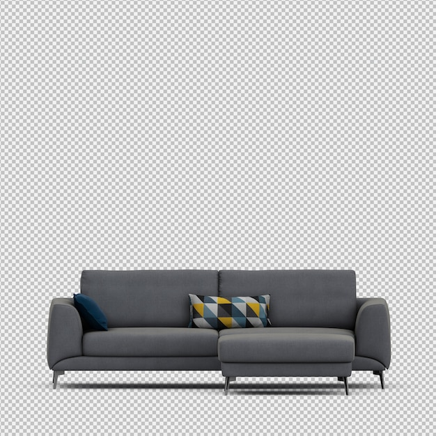 Izometryczne Sofa 3d Renderowania Na Białym Tle Premium Psd