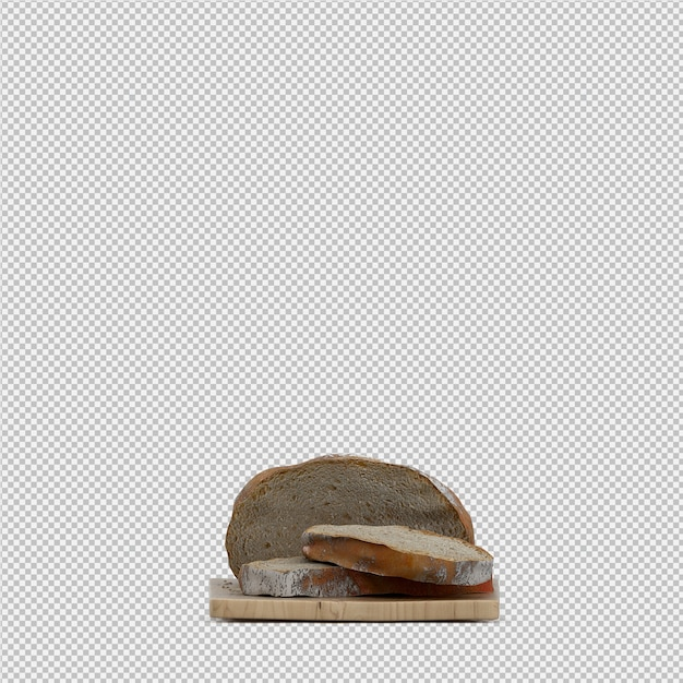 Izometryczny Chleb 3d Na Białym Tle Premium Psd