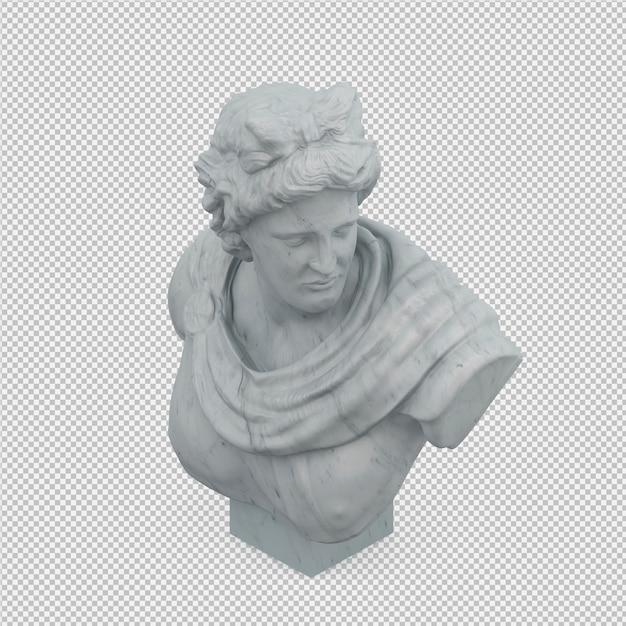 Izometryczny posąg renderowania 3d na białym tle Premium Psd