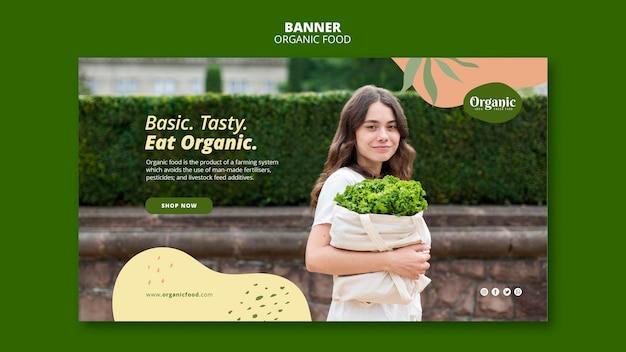 Jedz Organiczne I Zdrowe Szablon Sieci Web Banner Darmowe Psd