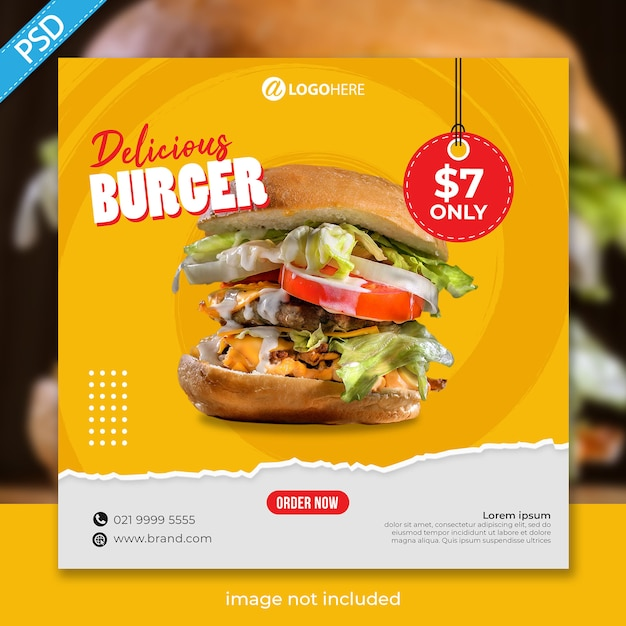 Jedzenie Burger Social Media Instagram Szablon Transparent Post Premium Psd