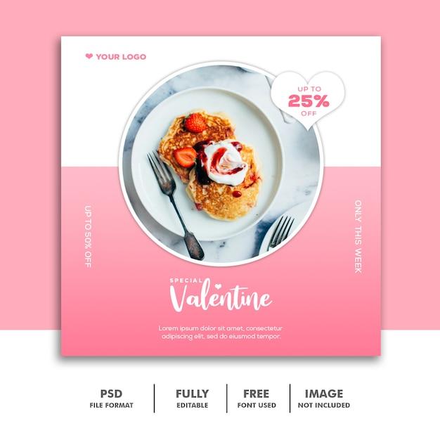 Jedzenie Valentine Banner Social Media Post Premium Psd
