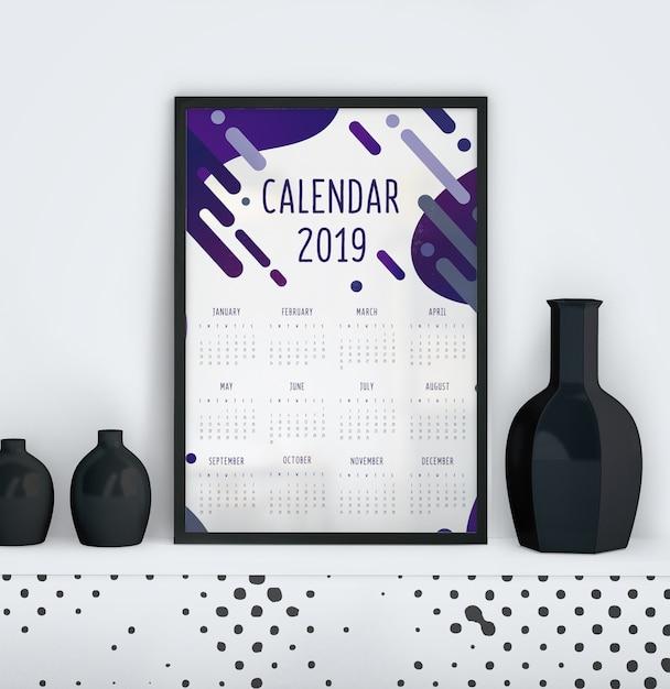Kalendarz z płynnym szablonem efektu Darmowe Psd