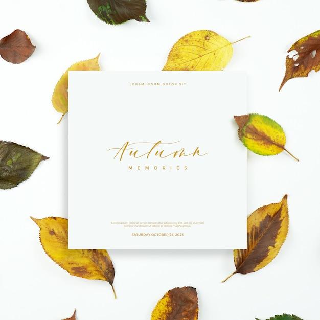 Karta jesiennych liści Premium Psd