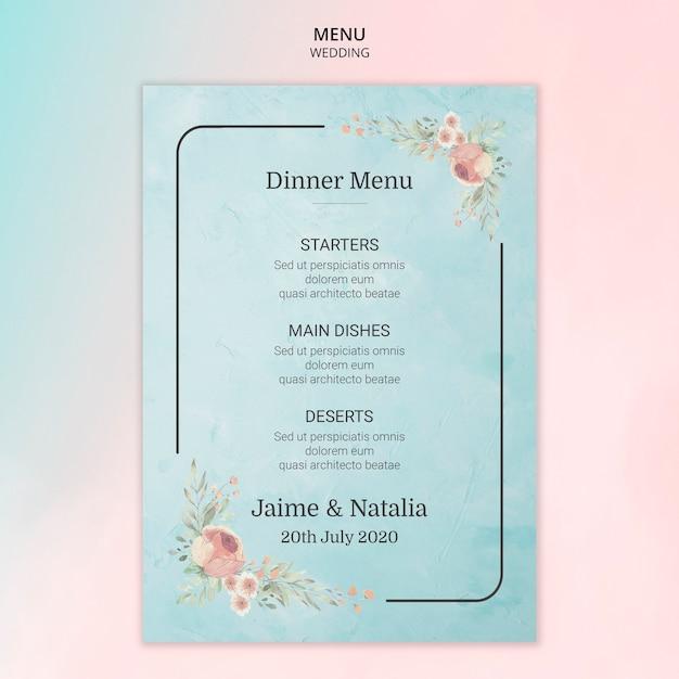 Karta menu ślub z kwiatami Darmowe Psd