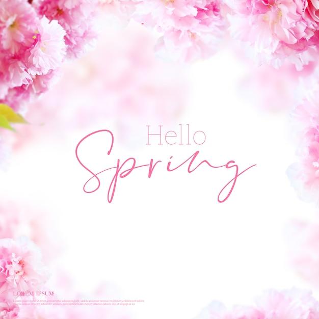 Karta Piękne Wiosenne Kwiaty, Motyw Sezonu, Witaj Wiosna Premium Psd