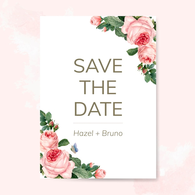 Karta Zaproszenie Na ślub Ozdobiony Różami Premium Psd