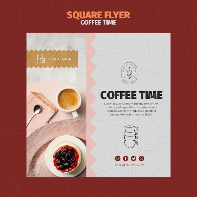 Kawa W Filiżance I Pyszne Ciasto Kwadratowe Szablon Ulotki Darmowe Psd