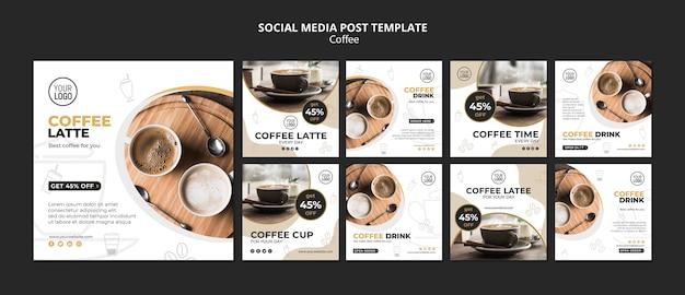 Kawowy Post W Mediach Społecznościowych Darmowe Psd