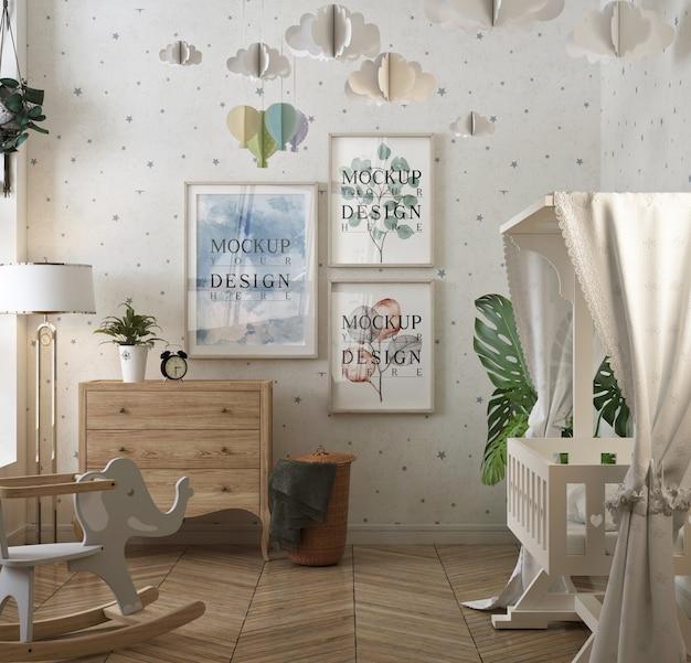 Klasyczna Sypialnia Dla Dziecka Z Ramą Plakatową Makiety Premium Psd