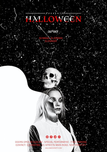 Kobieta trzyma czaszkę na głowie na halloween Darmowe Psd