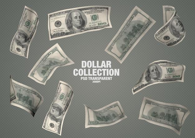 Kolekcja 100 Dolarów - 10 Izolowanych Banknotów Premium Psd