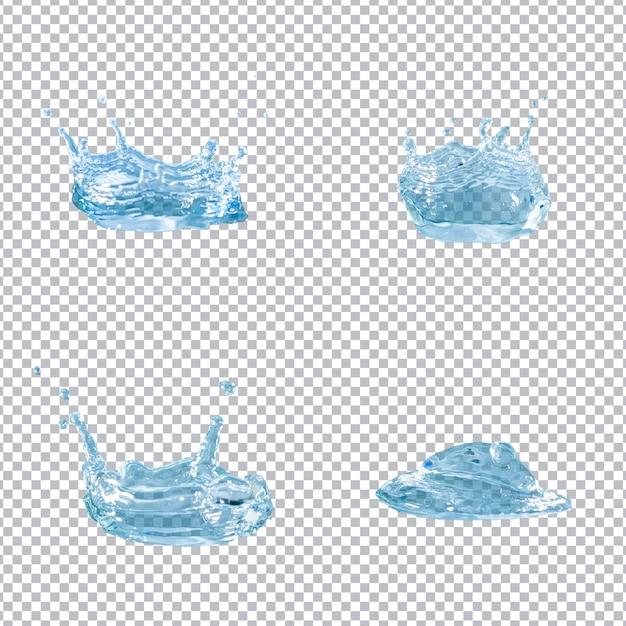 Kolekcja Czterech Splatters Wody Premium Psd