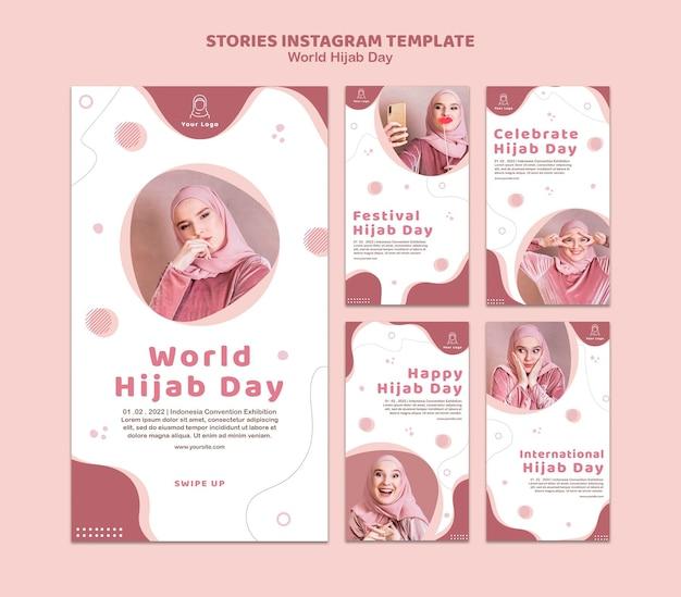 Kolekcja Historii Na Instagramie Na Obchody światowego Dnia Hidżabu Darmowe Psd