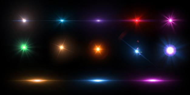Kolekcja kolorowych flar obiektywu Premium Psd