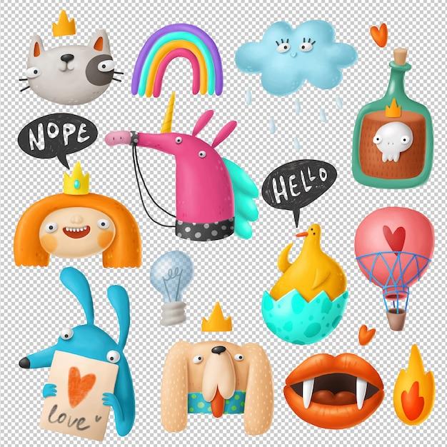 Kolekcja Kreskówka Doodles Clipart Premium Psd