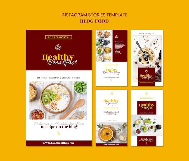 Kolekcja Opowiadań Na Instagramie Dla Blogu Z Przepisami Na Zdrową żywność Premium Psd