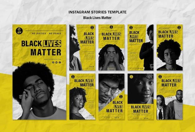Kolekcja Opowiadań Na Instagramie Dla Czarnych żyć Ma Znaczenie Darmowe Psd