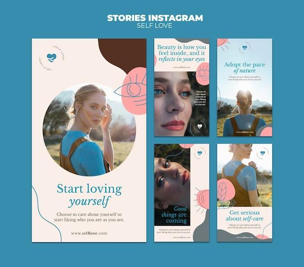 Kolekcja Opowiadań Na Instagramie Dla Miłości Własnej I Akceptacji Premium Psd