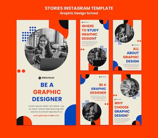Kolekcja Opowiadań Na Instagramie Dla Szkoły Projektowania Graficznego Premium Psd
