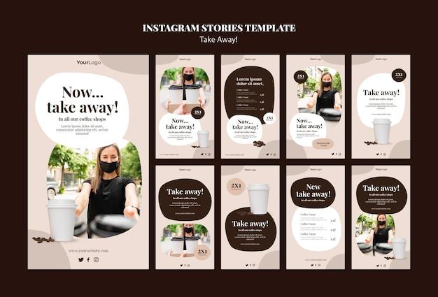 Kolekcja Opowiadań Na Instagramie Do Kawy Na Wynos Premium Psd