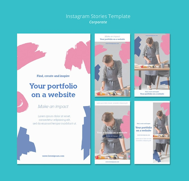 Kolekcja Opowiadań Na Instagramie Do Malowania Portfolio Na Stronie Internetowej Premium Psd