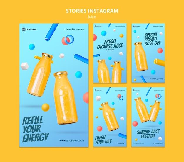 Kolekcja Opowiadań Na Instagramie Do Odświeżenia Soku Pomarańczowego W Szklanych Butelkach Premium Psd