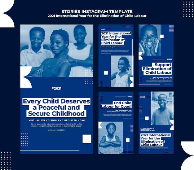 Kolekcja Opowiadań Na Instagramie Na Międzynarodowy Rok Eliminacji Pracy Dzieci Premium Psd