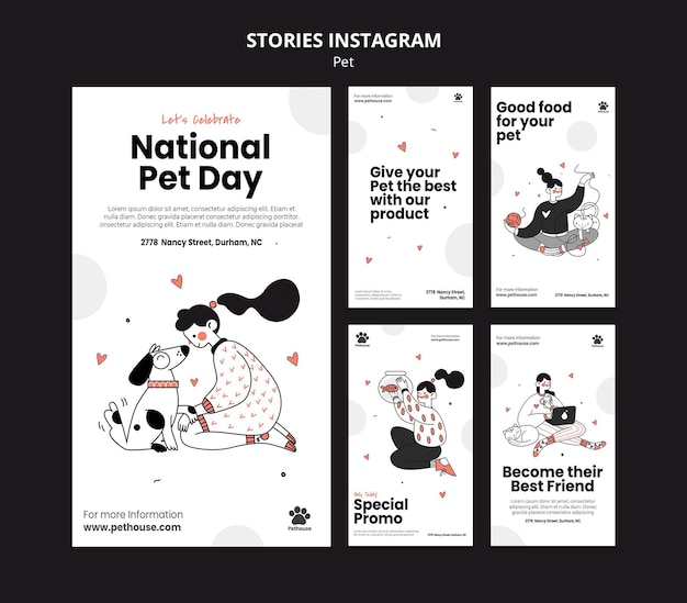 Kolekcja Opowiadań Na Instagramie Na Narodowy Dzień Zwierzaka Z Właścicielką I Zwierzakiem Premium Psd