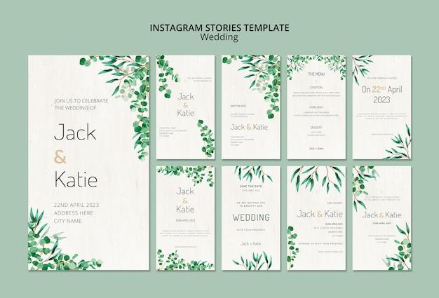 Kolekcja Opowiadań Na Instagramie Na ślub Z Liśćmi Darmowe Psd