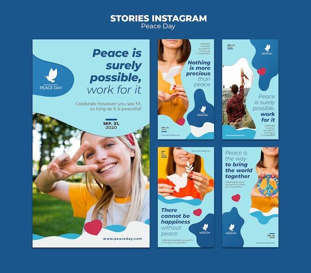 Kolekcja Opowiadań Na Instagramie Na światowy Dzień Pokoju Darmowe Psd