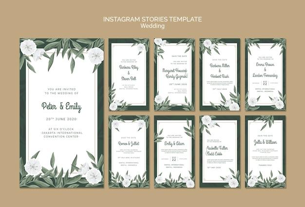 Kolekcja Opowiadań Na Instagramie Z Kwiatami Na ślub Darmowe Psd