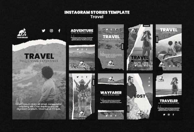 Kolekcja Opowiadań Na Instagramie Z Podróży Darmowe Psd