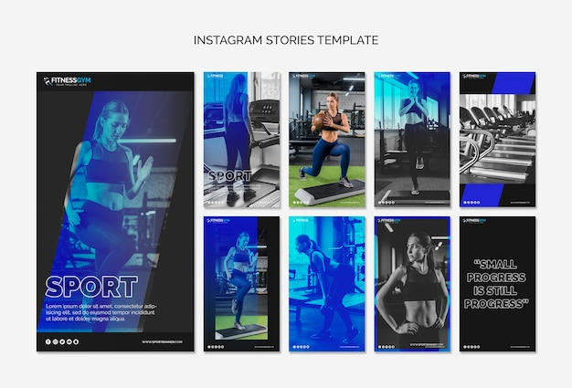 Kolekcja opowieści instagram z koncepcją fitness Darmowe Psd