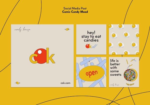 Kolekcja Postów Na Instagramie Dla Cukierków W Stylu Komiksowym Darmowe Psd