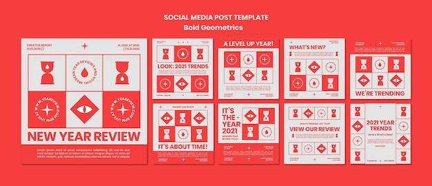 Kolekcja Postów Na Instagramie Do Przeglądu Noworocznych I Trendów Premium Psd