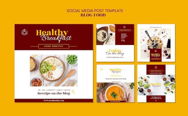Kolekcja Postów Na Instagramie Na Blogu Z Przepisami Na Zdrową żywność Darmowe Psd