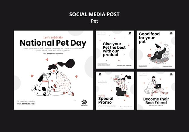 Kolekcja Postów Na Instagramie Na Narodowy Dzień Zwierzaka Z Właścicielką I Zwierzakiem Darmowe Psd