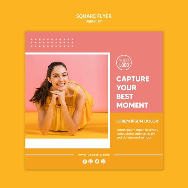 Kolorowa Ulotka Informacyjna Ze Zdjęciem Kobiety Premium Psd