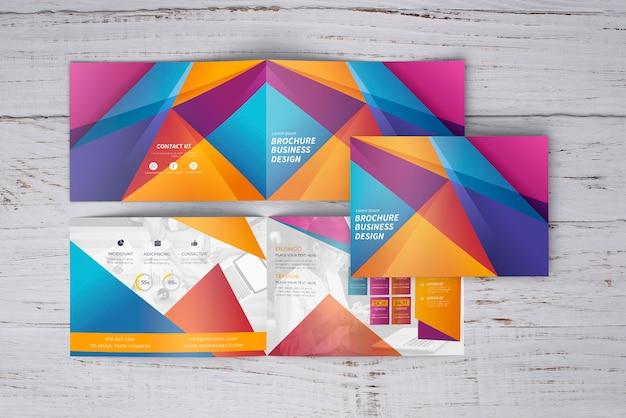 Kolorowe Geometryczne Broszury Makieta Trzech Darmowe Psd